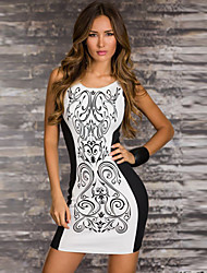 New arrival dress party evening elegant fashion print black and white patchwork women dresses 2015 casual dress