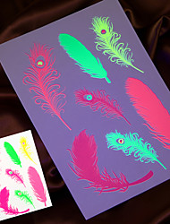 4PCS 2016 New Fluorescent Temporary Tattoo Sticker  Painting Fake Tattoo Taty Tatto Jewelry Design