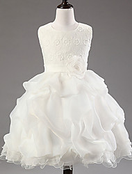 Ball Gown Knee-length Flower Girl Dress - Cotton / Lace / Tulle / Polyester Sleeveless Jewel with