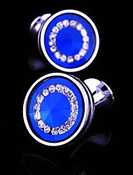 Toonykelly® Fashion Silver Plated Round CZ Zircon Crystal Men Handsome Shirt Cufflink Button(1 Pair)