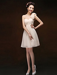 Knee-length Chiffon Bridesmaid Dress - Champagne Sheath/Column One Shoulder