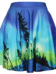 Girl's Sexy Beautiful Printing Pleated Mini Skirt
