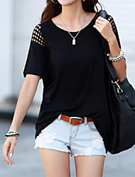Women's Solid Black T-shirt , Round Neck Short Sleeve Hollow Out