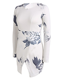 Fengzhe Women's Sexy/Beach/Print/Party Round Sleeveless Dresses (Polyester)