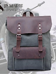 LF®Top Sale Vintage Canvas Backpack with Genuine Leather Flap