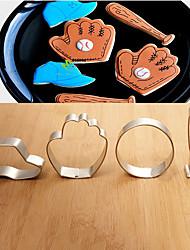 4 Pieces Set Baseball Cap/ Bat/ Glove/ Ball Shape Cookie Cutters Fuirt Cut Moulds Stainless Steel