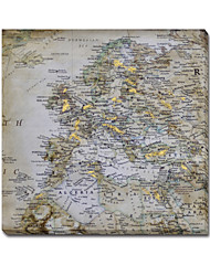 Map Wall Decor Print with Hand Touch on Canvas Gallery Wrap