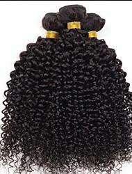 "venta caliente 8 ""-24"" brasileño profundamente rizado pelo virginal, color natural 1b negro, pelo humano teje prima."