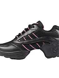Non Customizable Women's Dance Shoes Dance Sneakers/Modern/Gymnastics Leather/Fabric Chunky Heel Black/White