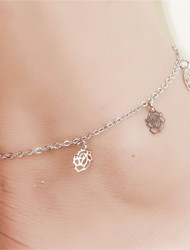 Vilam® Hot Girl Ankle Bracelet Bead Chain Simple Silver Hollowed Rose Flower Charm Beads Beach Anklet Foot Jewelry
