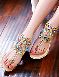 Women's Shoes Blue/Gold Low Heel Sandals (Calf Hair)