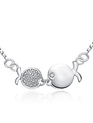 """Jazlyn® Authentic Platinum Plated 925 Sterling Silver Women 1MM Kiss Fish Cubic Zirconia Link Chain Necklace 18"""""""