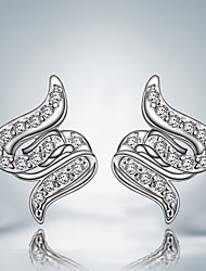 Silver Plated Unique Design Stud Earrings
