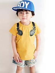 Boy's Fashion Leisure Crew Neck Earphone Pattern Tees