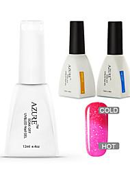 Azure 3 Pcs/Lot Color Changing UV Gel Art Polish Soak-off Nail Care Polish (#39+BASE +TOP)