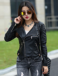 Women's Solid Black Jackets Shirt Collar Long Sleeve Rivet