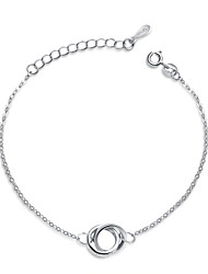 Jazlyn Authentic Platinum Plated 925 Sterling Silver Couples Ring Link Chain Bracelet