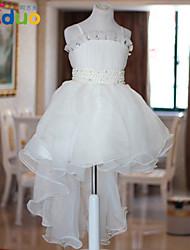 2-8T Kids Girl's Ruffled Diamond Ball Gown Gauze Tutu Trailing Wedding Slip Dress