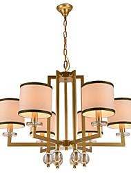Morden Contracted Creative Crystal Chandeliers 6 Lights with  Height Adjustable Metal