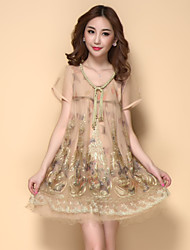 Women's Vintage/Casual Inelastic Short Sleeve Above Knee Dress (Others)