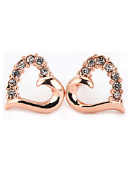 T&C Women's Sweety Crystal Hollow Heart Stud Earrings 18K Rose Gold Plated Cz Diamond Vintage Jewelry