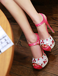 Women's Shoes Stiletto Heel Peep Toe Sandals Wedding/Party & Evening/Dress Red/White/Silver/Gold