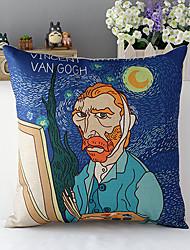 moderne stijl cartoon van gogh gedessineerde katoen / linnen decoratieve kussensloop