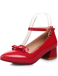 Women's Shoes Chunky Heel Heels/Ankle Strap/Pointed Toe/Closed Toe Pumps/Heels Office & Career/Dress Black/Red/White