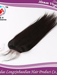 "14""Indian Remy Human Hair Silk Straight Top Closures,Stock Human Hair Wholesale 4*4 Top Closure"