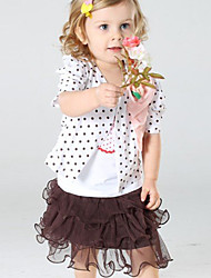 Girl's Cotton/Polyester Sweet Cute Flower/Dot Short Sleeve 3 Pieces Clothing Set