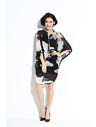 Women's Beach/Casual/Print Inelastic ½ Length Sleeve Asymmetrical Dress (Chiffon)697#