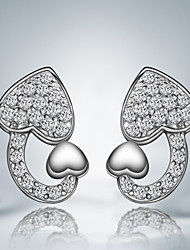 Heart Design Earring Silver Plated Unique Design Stud Earrings