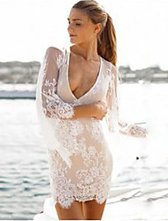 Women's V-Neck Dresses , Lace Sexy/Beach/Casual/Cute/Party Long Sleeve Annabelle