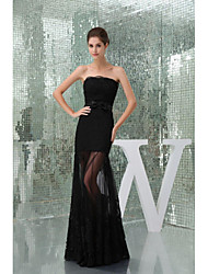 Formal Evening Dress A-line Strapless Floor-length Lace/Tulle Women Long Prom Dresses