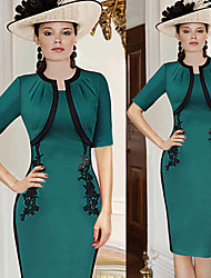Robes ( Coton/Polyester ) Vintage/Bodycon/Soirée Rond à Manche mi longue pour Femme