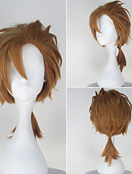 Seraph of the End Norito Goshi Synthetic Short Straight Yellow Color Anime Cosplay Wig with a Braid