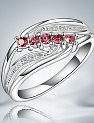 100% Real 925 silver wedding ring with red zircon