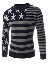 Men's Going out Casual/Daily Work Club Simple Cute Street chic Regular Pullover,Color Block Round Neck Long SleeveWool Cotton Polyester