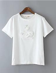 Women's Patchwork White/Black T-shirt , Round Neck Short Sleeve Beaded