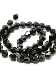 Beadia 100PCS Glass Facetted Crystal Beads 6mm Diamond Bicone Shape Black Color DIY Spacer Loose Beads