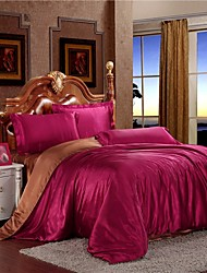 Mingjie Frozen Ice Silk Wine Red Coffee Sanding Bedding Sets 4pcs Duvet Cover Sets Queen Size and King Size