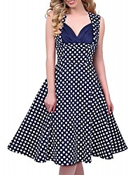 VICONE Women's Cut Out Vintage Casual Polka Dot 1950'S Retro Dress