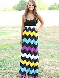 Women's Sexy Sleeveless Sripes Print Slim Maxi Dress