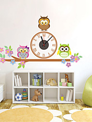 Modern Style DIY Cartoon Owl on A Branch Mute Wall Clock