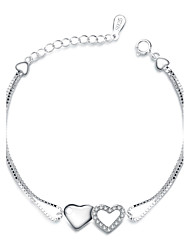 Jazlyn Authentic Platinum Plated 925 Sterling Silver Woman Heart to Heart Cubic Zirconia Link Chain Couples Bracelet