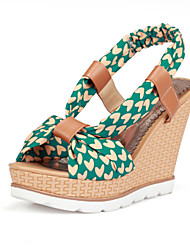 Women's Shoes Fabric Wedge Heel Wedges/Slingback Sandals Dress Blue/Green/Navy