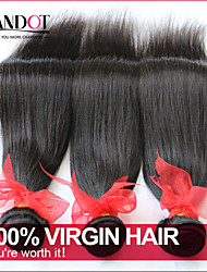 "4 Pcs Lot 8""-30"" Brazilian Virgin Straight Hair Unprocessed Raw Wefts Natural Black Human Hair Weave Bundles Tangle Free"