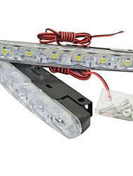 1pair carro auto 5W 6LED dia 480lm aviso luz de freio luz running drl piscando bulbo DC12V branco