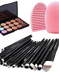 20pcs makeup set Professional/Full Coverage Powder Foundation/shadow Eyeliner Lip Brush Tool makeup brush set+15Color Concealer+Brush Cleaning Tool