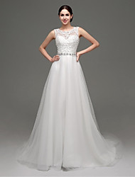 A-line Wedding Dress - Chic & Modern / Glamorous & Dramatic See-Through Wedding Dresses / Lacy Looks Court Train Jewel Lace / Tulle with